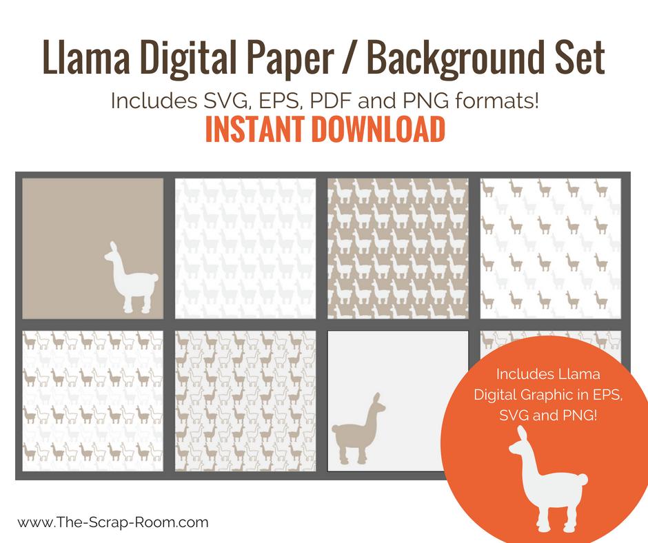 llama 12 x 12 digital scrapbook paper backgrounds set of 8 digital