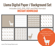 Llama-12 x 12 Digital Scrapbook Paper/backgrounds set of 8 digital designs-eps, svg, png, pdf - vector designs - resizable + llama graphic!