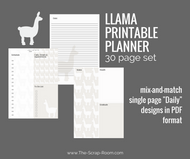 "Llama Printable Planner - 30 (single pg) mix & match ""Daily"" printable journal pgs - Instant Download PDF Bujo / bullet journal set"