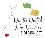 Dotted Line Doodles 8 design set + heart in svg, eps, AI & png - graphic download - digital cut file - clipart -on transparent background