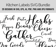 Kitchen Labels Basics SVG Bundle -29 design set incl.- Instant Download-Vector graphics in eps, svg ai, png and jpg formats-for crafts & DIY