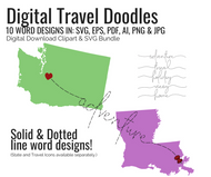 Dotted & Solid Line Travel Doodles - 10 Text design bundle in svg, eps, AI and png - graphic download - digital cut files - clipart