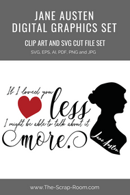 Jane Austen Graphics Set - Clip art and & digital cut file bundle - Quote from Emma by Mr Knightley