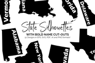 United States with BOLD Name Cut Outs - Clip Art and Digital Cut File Bundle: eps, svg, ai, pdf and png