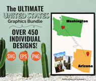 HUGE United States SVG Bundle Digital Graphics Set- All 50 United States plus Washington DC