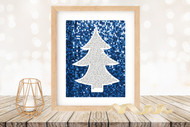 Twas the Night Before Christmas Printable Tree Art - Modern  Tree / Blue Glitter- Printable Christmas Wall Art for home decor and DIY Gifts
