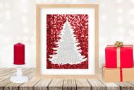 Twas the Night Before Christmas Printable Tree Art -Traditional Tree / Red Glitter-Printable Christmas Wall Art for home decor and DIY Gifts