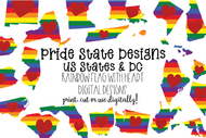 United States Pride bundle - 50 US states plus DC - pride flag pattern with heart - svg and png sublimation graphics set-51 designs
