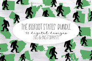 The Bigfoot States Bundle - PNG Clip Art and SVG Digital Cut Files for DIY & Crafts - Instant Download