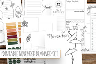 Bullet Journal Printables (bujo printables) NOVEMBER PLANNER - Printable Planner Inserts ready to fill in and color in with a fun fall theme