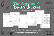 Bullet Journal Printables (bujo)  VOLUME 5! - Printable Planner Inserts ready to fill in and COLOR IN! ready to go pdf!