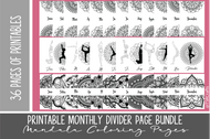 Monthly Divider Pages with Color-in Mandalas HUGE BUNDLE SET - 36 printable month pages for planner and bullet journal - pdf inserts