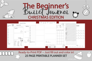 Beginner's Bullet Journal Printables (bujo)  CHRISTMAS EDITION! - Printable Planner Inserts ready to fill in and Color In! ready to go pdf!