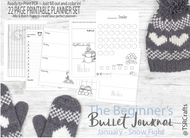 Bullet Journal Printables (bujo) JANUARY - Snow Fight - Printable Planner Inserts ready to print, fill in and COLOR IN!