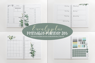 Watercolor Eucalyptus Printable Planner Kit - Daily | Weekly | Monthly Layouts, 31 Day Tracker, Stickers and bonus journaling pages