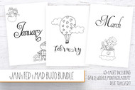 Bullet Journal Printables - Jan | Feb | Mar Mini Bundle