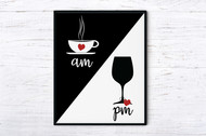 Kitchen wall art/Coffee and Wine printable wall art/coffee sign/wine sign/coffee art/coffee poster/printable wall decor-extra large wall art