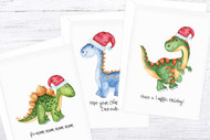 Kids Printable Christmas Card - Dinosaur Xmas Cards