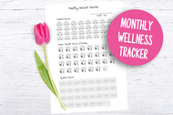 Printable Monthly Wellness Tracker - Instant Digital Download Planner Printable - Fits A4, A5, US Letter and more!