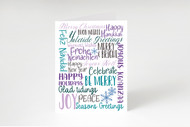 Winter Holidays Subway Art - Printable Greeting Card-Purples and Blues