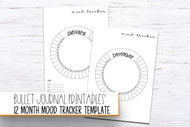 Planner Printables - 12 month mood tracker set - printable planner inserts