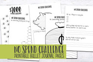 Printable Bullet Journaling Pages - No Spend Challenge / Savings Goal - Printable Planner / Bujo pages - 5 page set