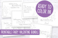 Printable Kids Valentine Cards - Fairy / Fairies Valentines - Printable Valentine's Day Cards - Coloring Book style Valentines - Interactive