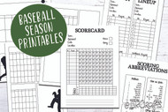 Baseball Season Printable Planner Pages, Score Sheet, Lineup List and Calendar templates - Baseball Calendar