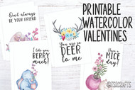 Printable Valentines - Printable Valentine Cards - Kid's Valentines - Printable Valentine Cards - Watercolor Animal Friends