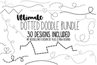 Dotted Line Doodles 30 design set + heart bundle - digital download for DIY & Crafts
