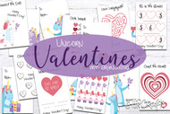 Unicorn Valentine Printable Cards for kids - 8 Double Sided Valentines with Unicorns and brainteasers - Print at home