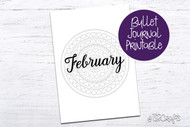 February Planner / Journal Printable - Planner Printable Divider Page - Heart Mandala - Adult Coloring Book style journal cover