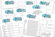 Printable Planner Kit - 10 page bundle - Teal