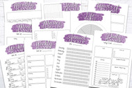 Printable Planner Kit - 10 page bundle - Purple Glitter