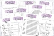 Printable Planner Kit - 10 page bundle - Purple 1