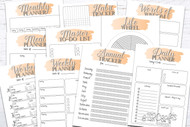 Printable Planner Kit - 10 page bundle - Orange