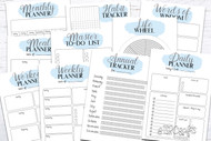 Printable Planner Kit - 10 page bundle - Light Blue