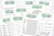 Printable Planner Kit - 10 page bundle - Green