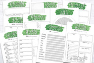 Printable Planner Kit - 10 page bundle - Green Glitter
