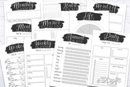 Printable Planner Kit - 10 page bundle - Black