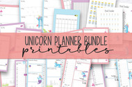 Bullet Journal Printables - planner printables - unicorn themed planner set