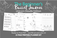 Bullet Journal Printables (bujo)  Unicorn Doodles Edition! - Printable Planner Inserts ready to fill in and COLOR IN! ready to go pdf!