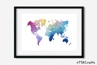 World Art Printable Wall Decor - Printable Wall Art - Abstract World/Earth Printable Art - watercolor (#2)