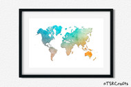 World Art Printable Wall Decor - Printable Wall Art - Abstract World/Earth Printable Art - watercolor (#1)