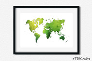 World Art Printable Wall Decor - Printable Wall Art - Abstract World/Earth Printable Art - watercolor (#3)