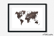 World Art Printable Wall Decor - Printable Wall Art - Abstract World/Earth Printable Art - Dark Wood