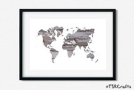 World Art Printable Wall Decor - Printable Wall Art - Abstract World/Earth Printable Art - Wood with Peeled Grey Paint