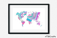 World Art Printable Wall Decor - Printable Wall Art - Abstract World/Earth Printable Art - Rainbow #2