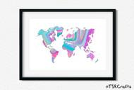 World Art Printable Wall Decor - Printable Wall Art - Abstract World/Earth Printable Art - Rainbow #2