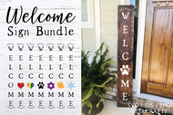 Vertical Welcome Sign Digital Design Bundle - welcome cut file sign bundle - diy welcome sign bundle - welcome